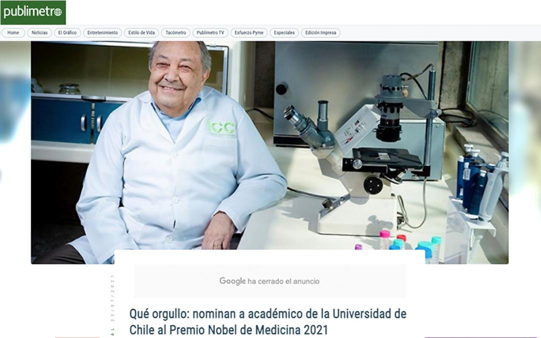 Qué orgullo: nominan a académico de la Universidad de Chile al Premio Nobel de Medicina 2021